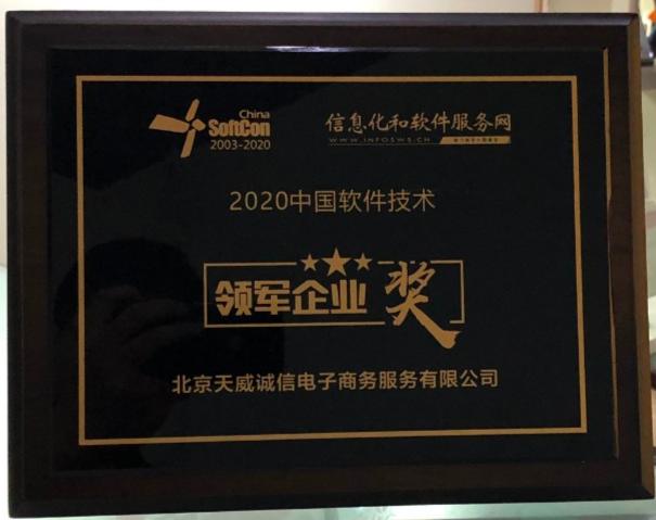 天威诚信荣获2020中国软件技术领军企业奖