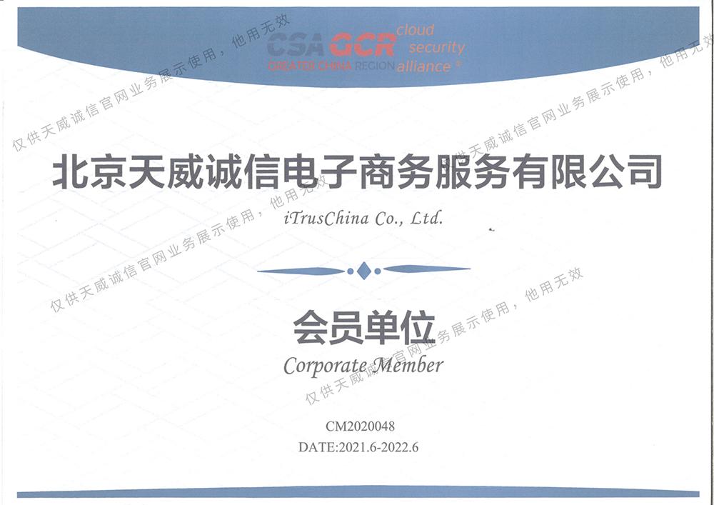 云安全联盟大中华区(CSA GCR)会员单位